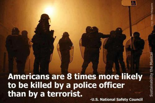 Americans are 8 times more likely to be killed by a police officer than by a terrorist (US National Safety Council).