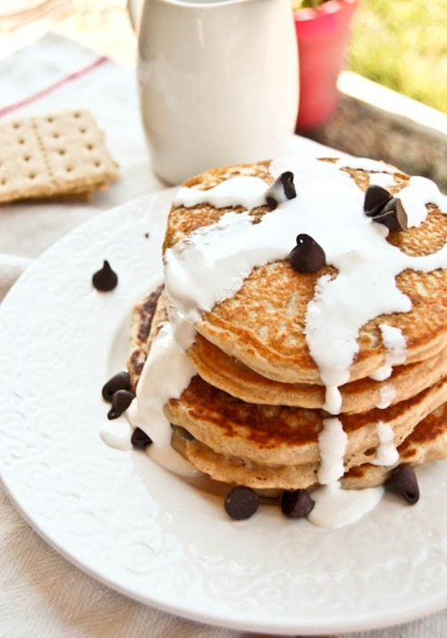 bakeddd:  s'mores pancakes click here for recipe