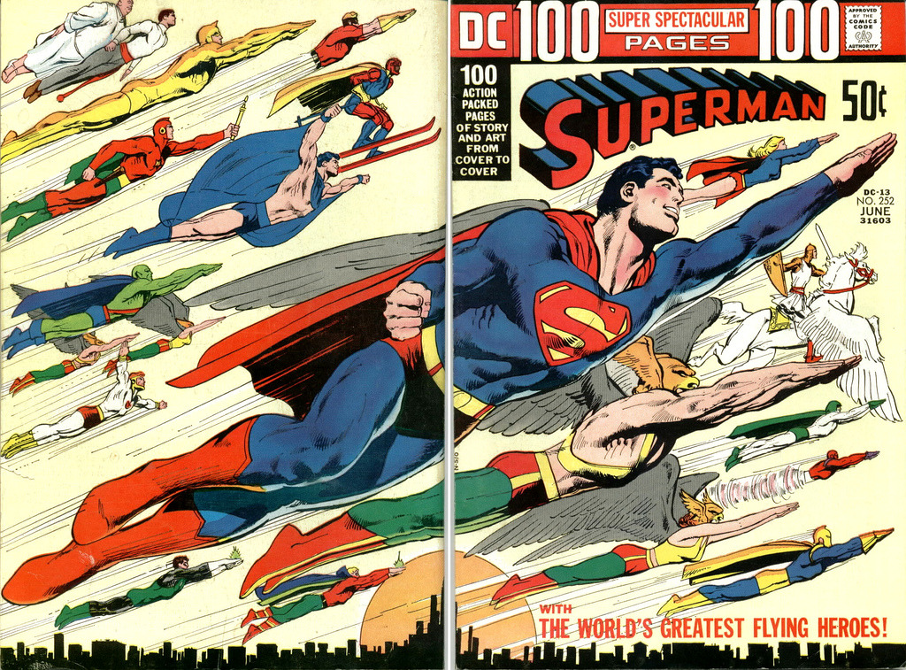 cryptofwrestling:  Superman #252 (1972) Great wraparound cover by Nefarious Neal Adams…