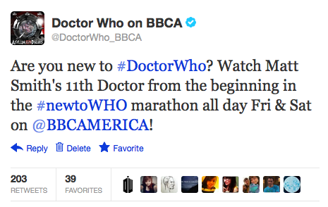 @DoctorWho_BBCA: Are you new to #DoctorWho? Watch Matt Smith's 11th Doctor from the beginning in the #newtoWHO marathon all day Fri & Sat on @BBCAMERICA!