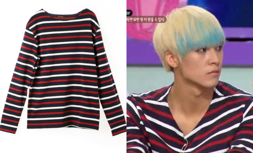 120824 KBS SPONGE | DONGWOON EIGHT SECONDS STRIPED MARINE TOP - ₩39,900 (approx. $35)