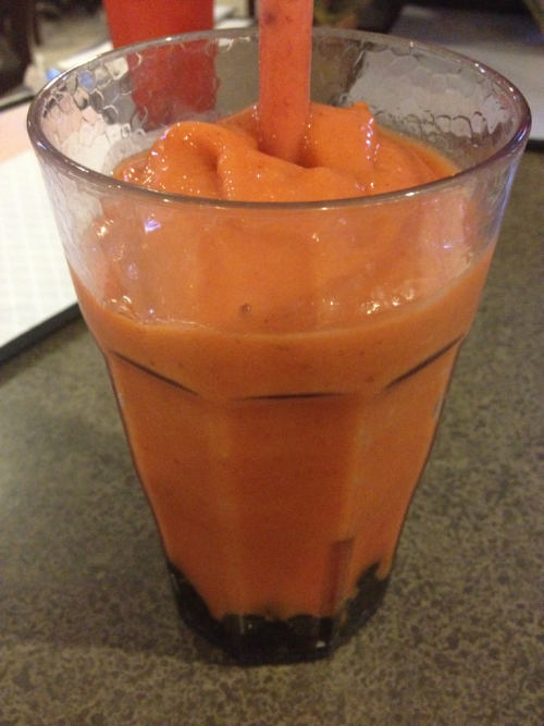 I ordered a strawberry-mango smoothie at this pan-Asian restaurant and it came out with tapioca bubbles at the bottom. Not mad at that!