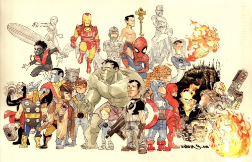 brianmichaelbendis:  Marvel love by Dustin Nguyen
