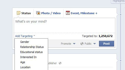 "Facebook Targeting Feature is Live Today, some of the pages we manage got access to the (possibly game-changing) new targeting possibilities Facebook began rolling out earlier this month. I got to play around with the newfangled posting options a bit today, and from a marketing perspective there are lots of cool possibilities there. In the past, some content we'd like to post just wouldn't resonant well with or be suited for our total audience, so we skip it. Now that's no longer a problem. For that reason and others the new feature has been called a ""boon"" for small businesses, and Brian Carter over at Mashable is even speculating it could help your EdgeRank.  From a regular old Facebook user perspective, I know I'm interested to see what I will be getting in my personal Facebook News Feed now that I can be targeted based on my gender, relationship status, age, education and interests (in addition to location and language - which were already possible targeting features). How do you plan to use this new capability for yourself or a brand/band/artist/non-profit who's profile you manage? Are you nervous that you'll be bombarded with crap that people think you'd like because you fit certain criteria?  -Caroline Jackson, Social Media Manager"