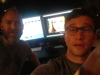 hitrecordjoe:  Nathan Johnson (who did music for BRICK and LOOPER) and I in the REC Room, working on Don Jon's Addiction.  im so sorry but just when i thought JGL couldnt get hotter… he puts on glasses! #theglasseseffect