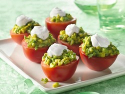 Mexican plum and tomato cups