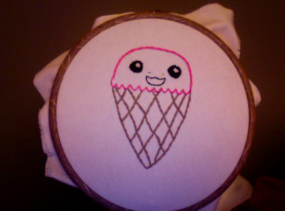 stitching up this ice cream cone