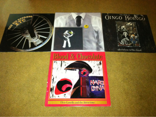 My delivery of records today. All Bs, again. Boingo best of, Blood & Chocolate, Big Express, and the next volume of Numero Group's Buttons series. I almost ordered another Bonzo best of with it. Bam!
