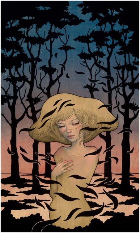 suicideblonde:  Shadows by Audrey Kawasaki A piece from Audrey Kawasaki's Midnight Reverie exhibition opening at Jonathan LeVine Gallery in NYC on September 8, 2012.