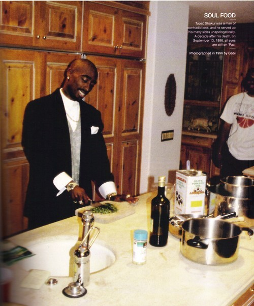 "thelifeandwordsof2pacshakur:   ""Leila Steinberg: Pac was a great cook. His favorite things to make were egg rolls and chicken wings. This one night we were so broke and starving and he made potato tacos and Top Ramen. He could make Top Ramen in a million different ways-teriyaki Top Ramen with vegetables or chicken or tuna. He could turn a 25-cent meal into something out of this world. Ray Luv: For someone so articulate, so fuckin' intelligent, the muthafucka could fuck up some food. When he'd eat hamburgers, he'd just have hella shit all over his face and all over everything. And the way he cooked, he just tore up the kitchen every time. He was so messy. He was an incredible cook, though - he could make Top Ramen taste like gumbo. He'd put a lot of garlic in it, a lot of onions, some seasoning. That's so broke shit, to be able to do that. You can tell when a muthafucka has been broke for awhile."