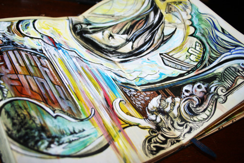 moleskinelovers:  over flow - mixed media moleskine entry