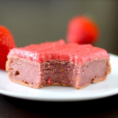 Strawberry Blondies w/ Strawberry Frosting!