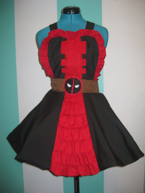 Deadpool Marvel Inspired Cosplay Pinafore Available at (one ready to ship): Darling ArmyI've been on this weird American comic book kick. Heh heh. Oh well. I'm quite liking what it's churning out. Introducing the ultimate badassDEADPOOL!I really don't think he gets enough love. Just because he doesn't have his own Hollywood blockbuster (yet), doesn't mean he should be ignored. He's personally one of my favorites in the Marvel Universe. So coooooooool.