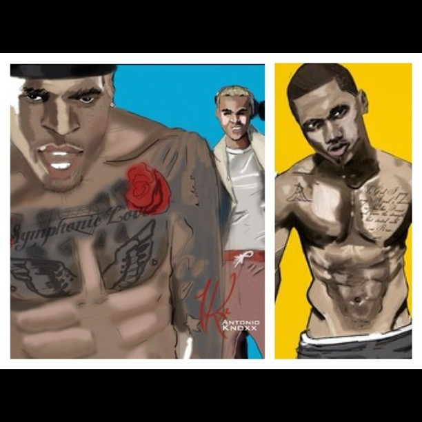 Drawings of @ChrisBrown x @TreySongz by @antonioknoxx. This is guy is talented! Check him out! #dope #Dopeairlines #art (Taken with Instagram)
