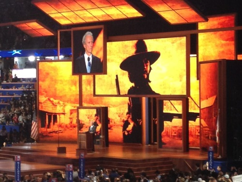 "Eastwood speech energizing, bizarre By Tony Venhuizen, guest blogger Clint Eastwood just finished speaking, extemporaneously it seemed, without a TelePrompTer. For a archetypal ""tough guy,"" it seemed more like a standup routine. Eastwood certainly energized the crowd, because of the novelty and his great star power, but that was one of the most bizarre things I've ever seen. Eastwood will be a major topic of conversation tonight and tomorrow. I wonder if it was the right move. This is the sixteenth in a series of guest posts by Tony Venhuizen, a senior advisor to Gov. Dennis Daugaard attending the Republican National Convention in Tampa."