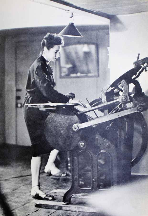 printmakersopenforum:  Anais Nin working on a letterpress…  (source: http://www.brainpickings.org/index.php/2012/08/30/anais-nin-letterpress/)
