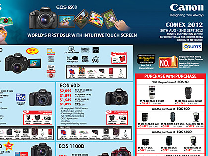 COMEX 2012 promotions: Canon Canon is at COMEX 2012 at Suntec Singapore at Hall 404, Booth 8101.Check out Canon's Comex 2012 promotions for its range of cameras and printers. Look out for discounted ink cartridges, batteries and scanners too. Here, you can download all of Canon's COMEX 2012 flyers, or just whichever you're interested in.