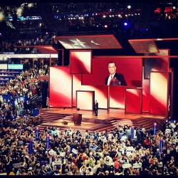 Mitt Romney arrives on stage at the RNC (Holly Bailey)