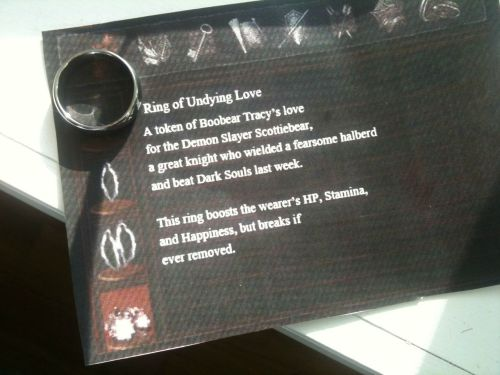 snakelinksonic:  Made a Dark Souls item card to go with a ring for my boyfriend. Description of the process and a blank inventory description template inside (imgur.com)