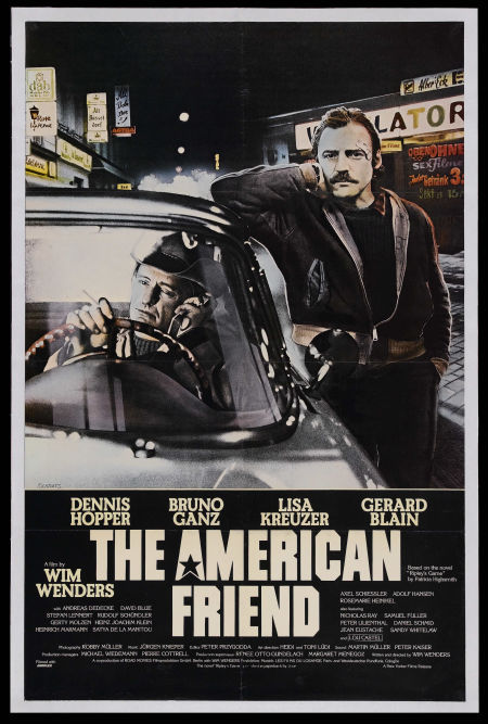 "Movie poster for the 1977 Wim Wenders film ""The American Friend"" starring Dennis Hopper and Bruno Ganz. Click the pic to watch the trailer. (In German with English subtitles)"