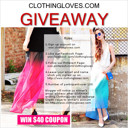 WANT TO WIN $40 COUPON CODE TO SHOP AT CLOTHINGLOVES.COM? WHAT ARE YOU WAITING FOR? JOIN MY GIVEAWAY NOW AND WIN $40 COUPON CODES. YOU WILL NEVER REGRET IT COZ CLOTHING LOVE COLLECTION ARE AMAZING AND AFFORDABLE! CHECK NOW.
