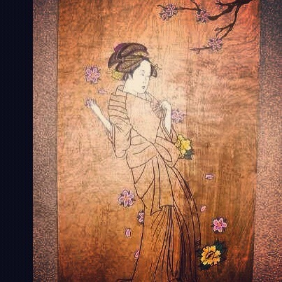 Work in progress. Painting of a geisha on a 2' x 4' sheet of poplar.
