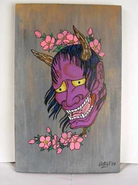 Painting I did of a Hannya mask on wood.