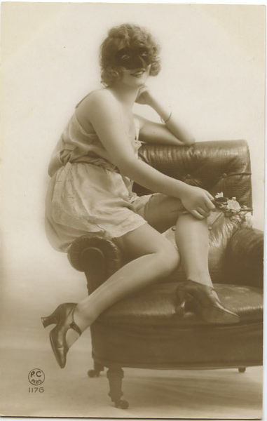 Masked Seduction 1920s risque postcard!