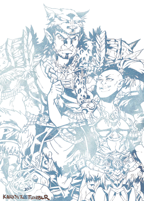 World of Warcraft: Commission lines for an orc couple, Kozgugore & Morgeth on Defias Brotherhood EU. I really can't wait to start CGing this!!! ♥