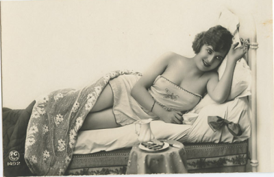 Cookies and Milk in Bed 1920s risque postcard (and it's time for me to take my tea, popcorn, as well as my book research materials, to bed and get back to working on my book! till tomorrow!! xo xo )