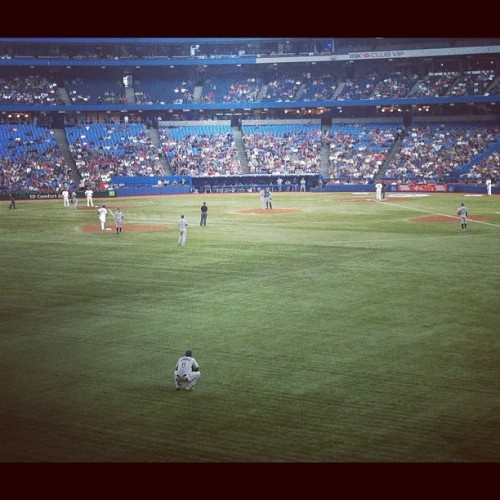 let's play ball ⚾  #instamood #instaphoto #instashot #instamoment #instagood #iphoto #iphone4 #summer  #baseball #jays #bluejays #downtown #toronto #downtowntoronto #rogerscenter #skydome #sports #gojaysgo #letsgojays #bluejaysgame #field #Awesome  (Taken with Instagram)