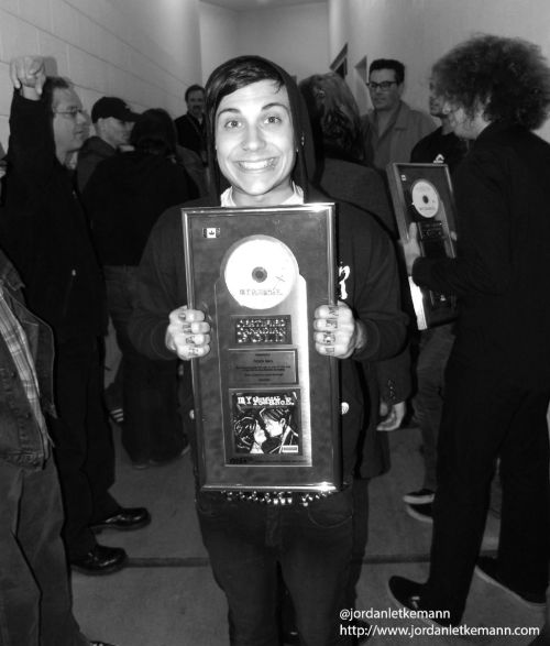 A picture I took of @FrankIero from@MCROfficial receiving a plaque in London, Ontario in 2006. - Jordan Letkemann