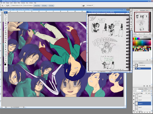 8/30/2012 WIP - Shading done on 6 of the background faces on 'Oreta Tsubasa De'.  Looks freaking amazing now. - Comic done for tomorrow - For 'Mitsuo the Killer', I outlined Souji/Yu in the last panel of page 1 and fixed a sketch of Kanji on page 2. *I didn't get to touch 'Angel of Darkness', but that outline is almost done. I don't know if there will be a WIP post tomorrow. Not feeling so hot at the moment.