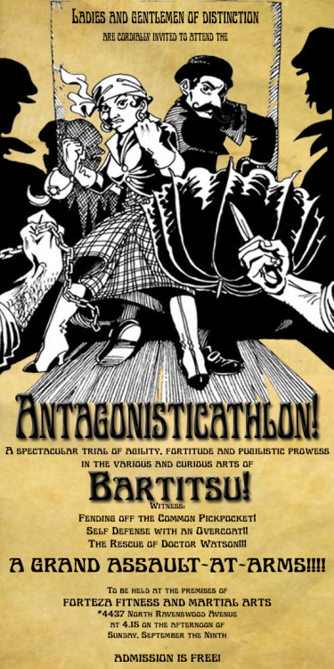 Bartitsu exhibition from the splendid Chaps of  Forteza Fitness and Martial Arts (the headquarters of the Bartitsu Club of Chicago)  http://bartitsuclubofchicago.com/the-antagonisticathlon/