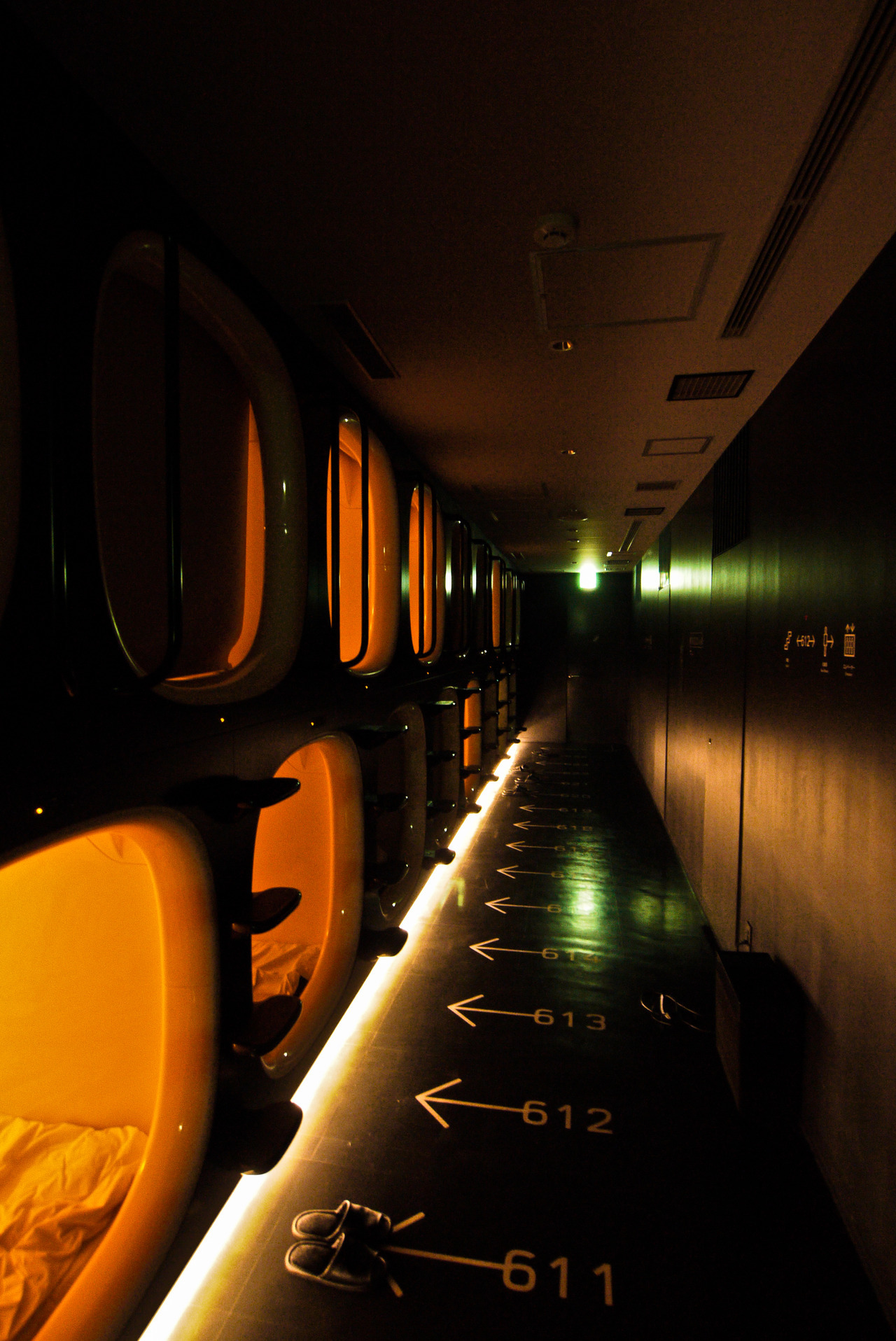 Capsule hotel I stayed at in Kyoto.  9hrs. Really cool place