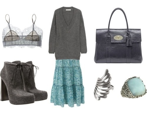 Bag,Boots,Bra,Collage,Fashion,Gray,Grey,Long skirt,Polyvore,Maxi skirt,