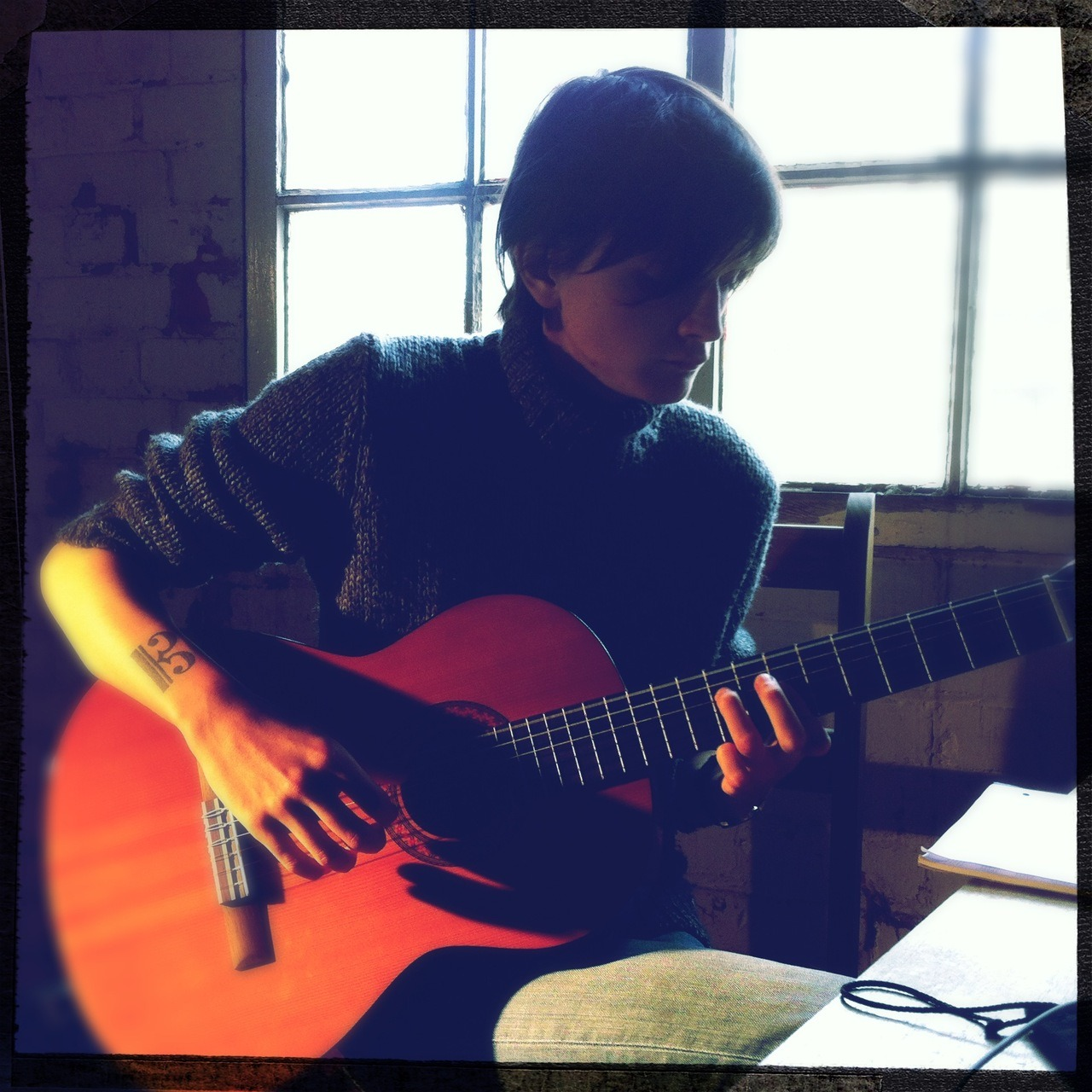 on set/at studio w/nate #guitar Americana Lens, Big Up Film, No Flash, Taken with Hipstamatic