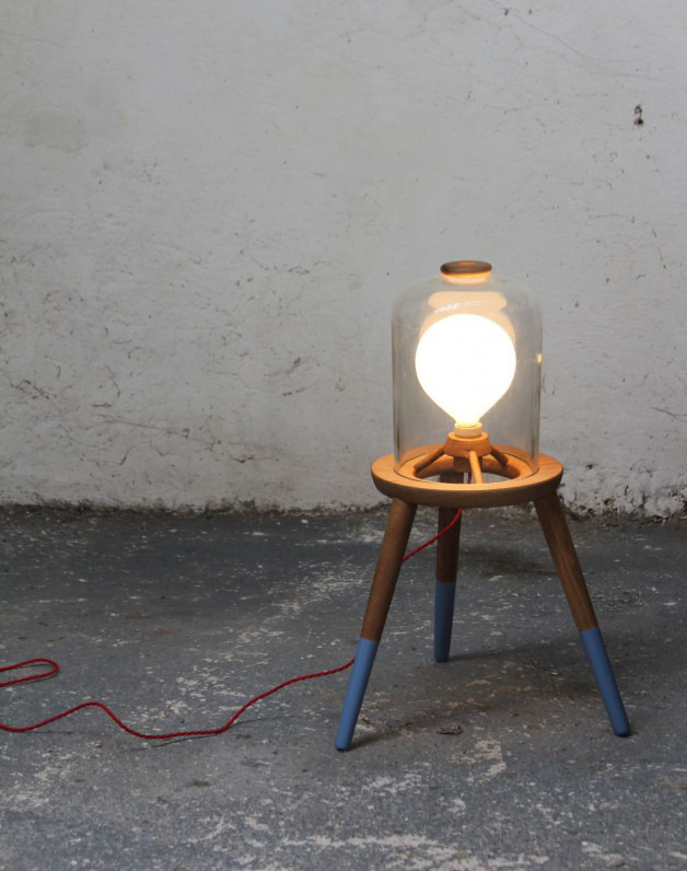Felix McCormack3/3 Stool Lamp 2011 Turned Oak . Found Pyrex . Chemical Jar . Red Braided Flex . Heavy duty exterior Paint . E27 Globe Bulb