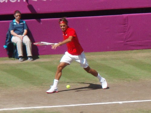 Men's Olympic Tennis - Gold Medal matchWimbledon, Centre Court Otherwise known as BlueSkyBlues' birthday, and a day when I only have my little camera with me. Oh, and when I discover that anotherpair of my shoes are not waterproof in the slightest… XD