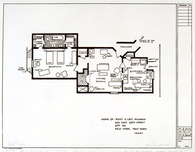 tvland:  lucyfix:  mariesoullier:  Floorplan for Lucy and Ricky Ricardo's apartment from the show I Love Lucy.  Their firstapartment, to be specific. I wonder if anyone's made a floorplan of their second apartment and their Connecticut house?  Love it!  Love these!