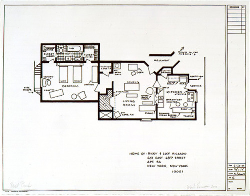 lucyfix:  mariesoullier:  Floorplan for Lucy and Ricky Ricardo's apartment from the show I Love Lucy.  Their firstapartment, to be specific. I wonder if anyone's made a floorplan of their second apartment and their Connecticut house?  Love it!