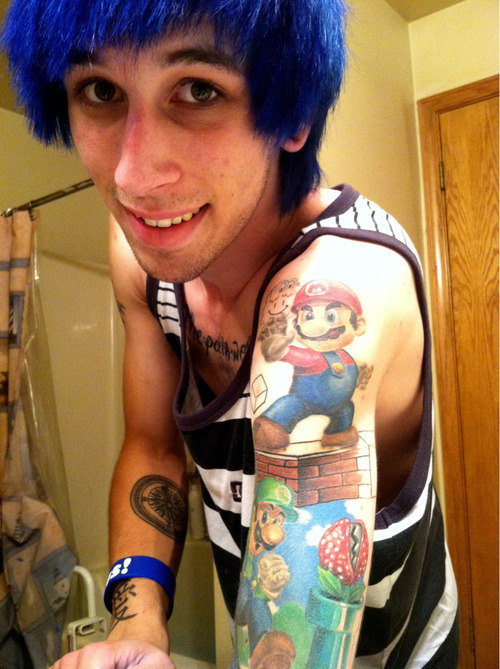 "My Super Mario Brothers sleeve 50% completed. (: www.aarontorrence.tumblr.com Work by: Jake Stockstell. ""Apothecary Tattoo"" San Luis Obispo, CA"