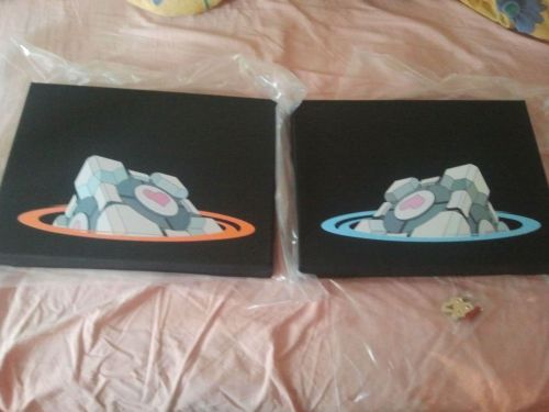 """Two canvases of a portal love cube, one for me and one for my girlfriend"" - Imgur"