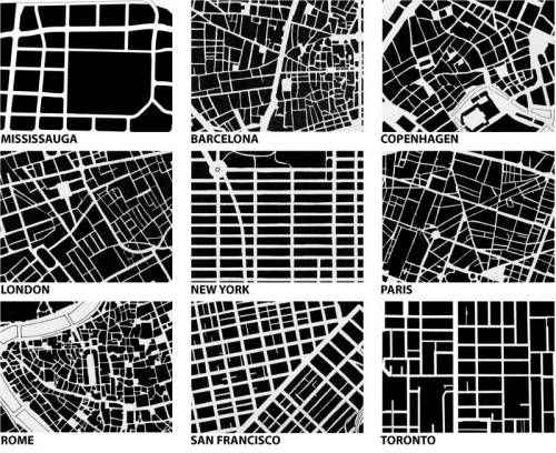 "Urban form comparison from ""Great Streets"" by Allan Jacobs   (reblogged via intrusionesarch, who got the image via a blog post on bricoleurbanism.org)"