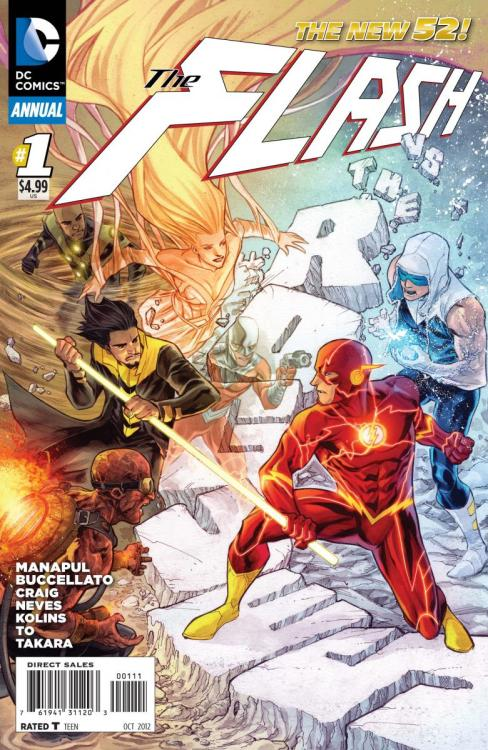 thirdeyecomics:  THIRD EYE PICKS OF THE WEEK: FLASH ANNUAL #1 — DC's NEW 52 Flash series has been one of the sleeper hits of the line ,with the consistently awesome artwork of Francis Manapul, and a solid story to match, but it's this week's FLASH ANNUAL #1 where things really kick into high gear. Folks, this is a GREAT jumping on point for the next big arc of the current FLASH run, and we really can't recommend the series enough. This crucial annual issue introduces the NEW 52 spin on the Rogues, as they make the transition from low-rent thugs with blaster guns to metahuman heavyweights.  Very cool stuff, and of course, the art is incredible.  Snag yourself a copy today, and get on board with THE FLASH!