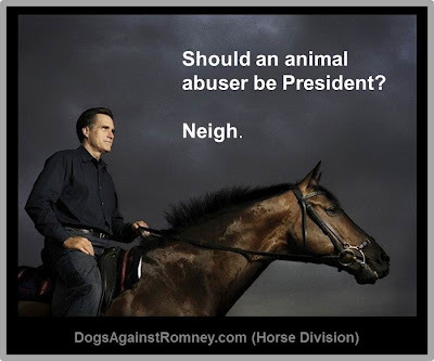 "voxamberlynn:  eat-babies-not-animals:    First there was Seamus, the Romney family Irish Setter whom they admit to strapping to the roof of their car (at least once) for a 12-hour drive to Canada as if he was luggage. They left poor Seamus up on the roof even after he became ill and soiled himself and the car. Mitt, in what was described by his campaign as ""emotion free crisis management"" merely hosed Seamus down and continued on the trip for hours more.  Now there is a horse named Super Hit. In 2008, the Romneys sold a horse named Super Hit for $125,000. The horse was subsequently found to be lame and unable to perform dressage. Dr. Steven Soule, veterinarian for the U.S. Equestrian Team, was consulted. He found that Super Hit, at the time he was sold, had been drugged with a staggering amount of painkillers - more than he had ever seen given to a horse in 38-years of practice. Super Hit's new owners sued Ann Romney, her trainers and her vet. The case was settled out of court last September. The Romney campaign called the case ""frivolous,"" but refused to allow the LA Times to interview the Romneys, their trainers, or their vet. The LA Times also reports that Romney's lawyers have sought to keep the case out of the public eye by trying to get the attorney of Super Hit's new owners to sign a confidentiality agreement.  The Romneys continue their relationship with the same trainers under whom Super Hit was given a staggering amount of painkillers so that he could be forced to continue performing.  Like I seriously hate him right now guys… If he wins I'm moving to fucking Ireland  if i didn't fucking hate him before. i hate him now."