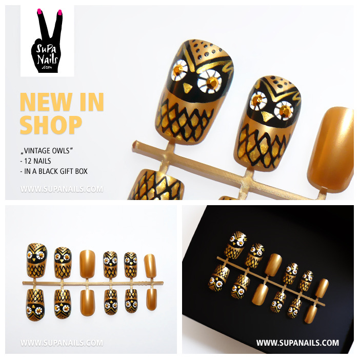"Supa Nails ""Vintage Owls"" New in Shop 12 handpainted gold/black owl nails with rhinestone eyes - Set of 12 artificial designer nails - comes in a black gift box www.supanails.com/shop"