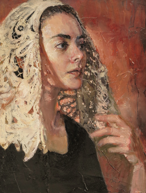 Lace Maker Oil and plaster on board 14x11 inches