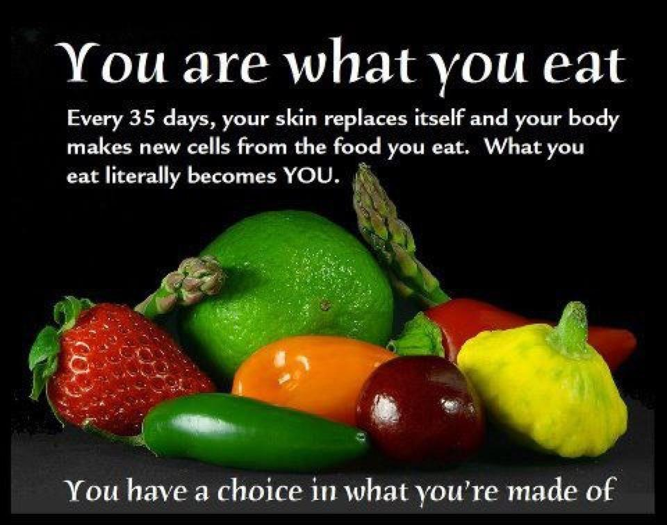 You are what you eat. You have a choice in what you're made of.