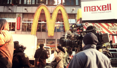 camera crew, times square. new york.